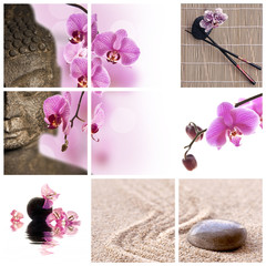Collage Bouddha zen orchidée rose