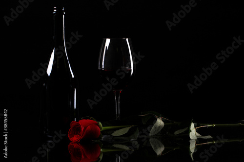 Red rose and wine - 38455842