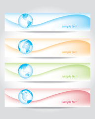 set of banners with world maps
