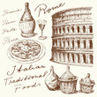 hand drawn italian food and architecture