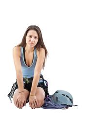 Girl in climbing equipment
