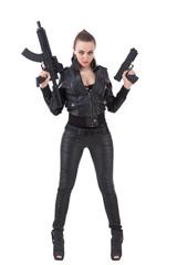 Girl posing with a guns