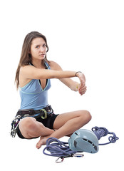 girl in climbing equipment