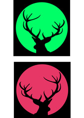Silhouettes of deer with antlers and green and red moons or sun