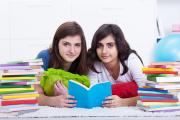 Tutoring concept - girls learning together
