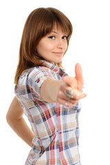 woman pointing at you