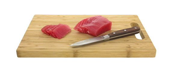 Yellowfin tuna with knife