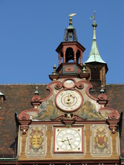 A detail of the historic town hall of Tuebingen in Germany