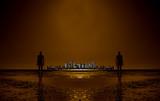 Aliens looking towards distant metropolis poster