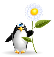 pinguino con fiore