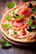 Pizza with salami, tomatoes and olives