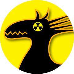 Trojanisches Pferd radioaktiv Kopf GELB