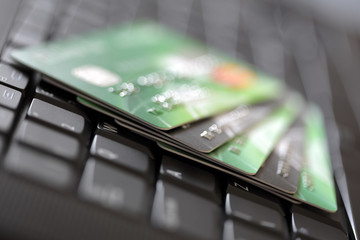 Credit cards on computer keyboard
