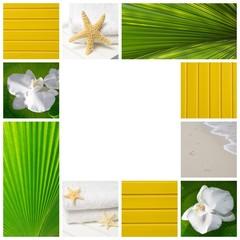 Wellness Collage in Gelb, Grün und Weiß