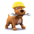 3d Dog with hard hat and spanner