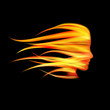 Logo head on fire # Vector