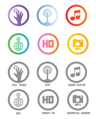 mobile phone technical skills icons