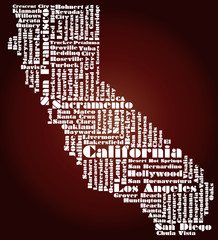 abstract map of California state, USA