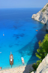 Navagio Beach with ships in Zakynthos, Greece
