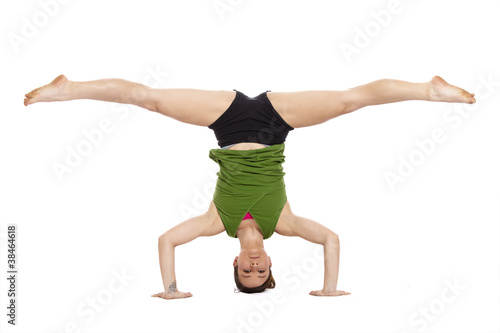 woman doing inverted split