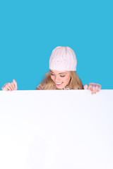 Laughing Girl Looking Down At Blank Sign