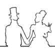 Black line art illustration of a bride and a groom.