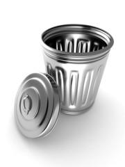 Steel metal trash can bin on white background