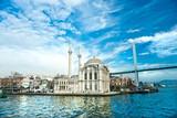 Fototapety Ortakoy mosque and Bosphorus bridge, Istanbul, Turkey.