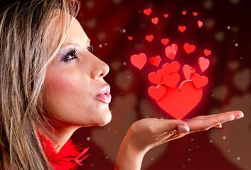Woman celebrating Valentines day