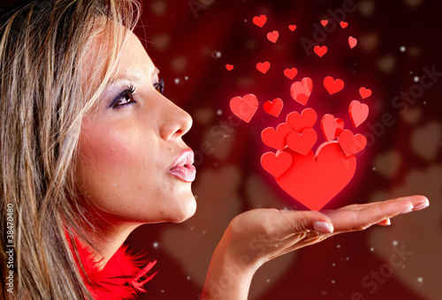 Woman celebrating Valentines day