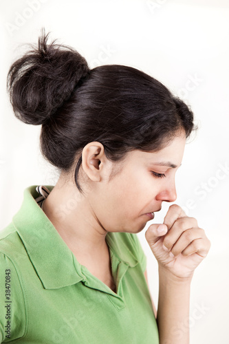 Indian girl in cold coughing
