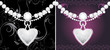Silver hearts with diamonds on the decorative background