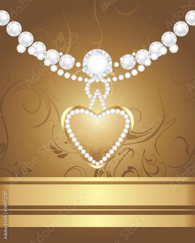 Golden heart with diamonds and strasses