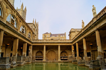 Ancient Roman Baths of Bath England at dusk