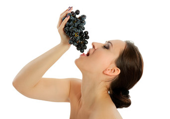 young woman with grape
