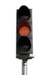 Feu orange de transition avant le signal d'arrêt absolu rouge
