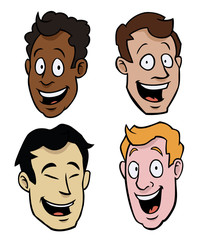 Various male cartoon faces