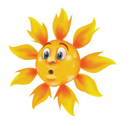 Sweating cartoon sun