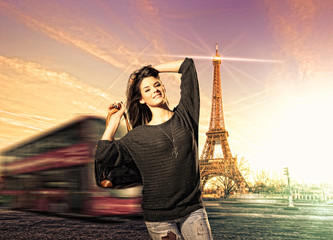 Woman visiting Paris in France with the Eiffel tower