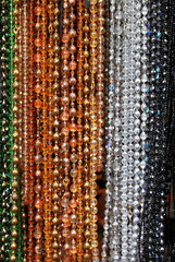 Colorful beads hanging at a jewellery store