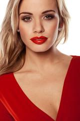 Seductive Blonde In Red Dress
