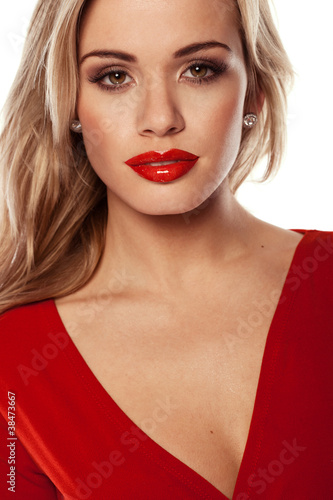 Seductive Blonde In Red Dress