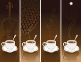 Fototapety set of four coffee banners