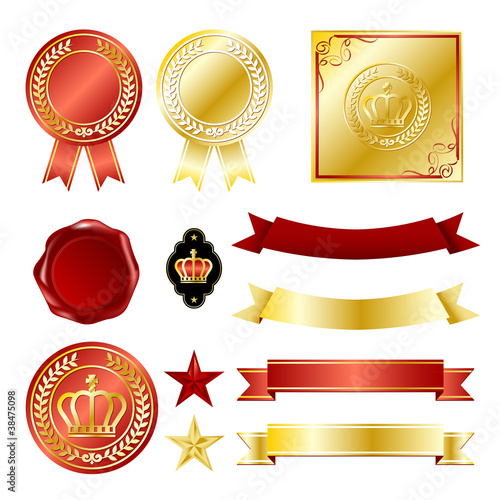 gold and red emblem set