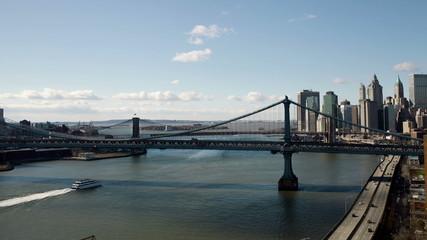 Manhattan and Brooklyn Bridges in New York City