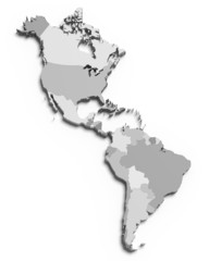 3d grey map of south and north american countries
