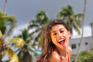 ragazza sexy in spiaggia  a santo domingo