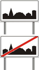 built-up area  - traffic sign isolated