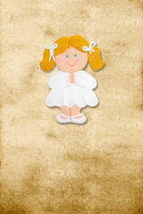 vertical card first communion, funny blond gir