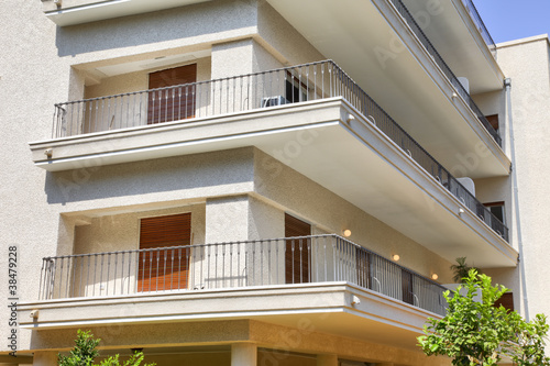 Building in Tel Aviv, window and balcony